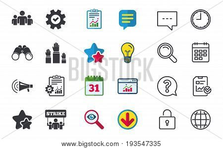 Strike group of people icon. Megaphone loudspeaker sign. Election or voting symbol. Hands raised up. Chat, Report and Calendar signs. Stars, Statistics and Download icons. Question, Clock and Globe