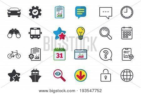Transport icons. Car, Bicycle, Public bus and Ship signs. Shipping delivery symbol. Family vehicle sign. Chat, Report and Calendar signs. Stars, Statistics and Download icons. Vector
