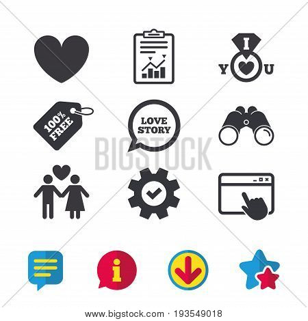 Valentine day love icons. I love you ring symbol. Couple lovers sign. Love story speech bubble. Browser window, Report and Service signs. Binoculars, Information and Download icons. Stars and Chat