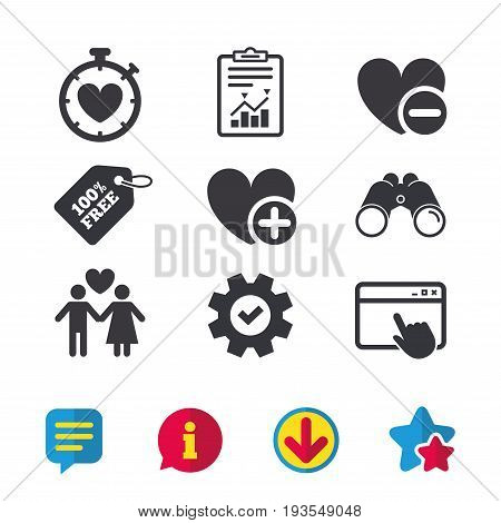 Valentine day love icons. Love heart timer symbol. Couple lovers sign. Add new love relationship. Browser window, Report and Service signs. Binoculars, Information and Download icons. Stars and Chat