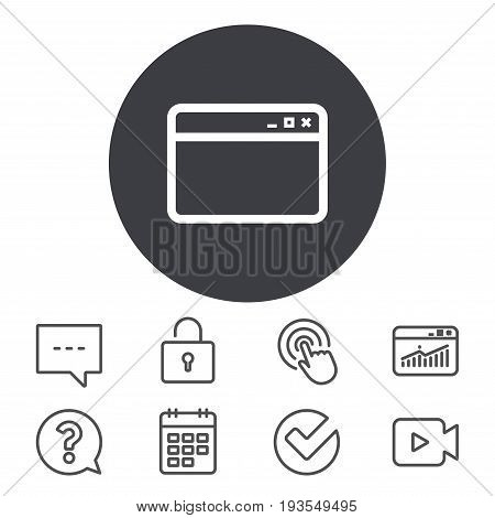 Browser window icon. Internet page symbol. Website empty template sign. Calendar, Locker and Speech bubble line signs. Video camera, Statistics and Question icons. Vector
