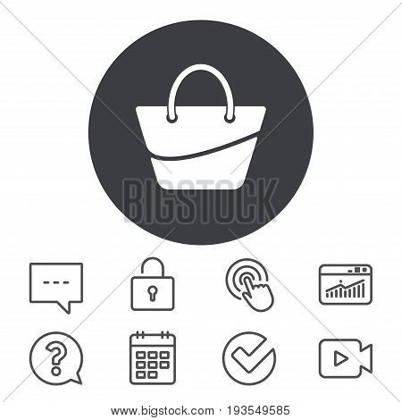 Woman bag icon. Female handbag sign. Glamour casual baggage symbol. Calendar, Locker and Speech bubble line signs. Video camera, Statistics and Question icons. Vector