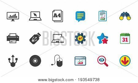 Computer devices icons. Printer, laptop signs. Smartphone, monitor and usb symbols. Calendar, Report and Download signs. Stars, Service and Search icons. Statistics, Binoculars and Chat. Vector
