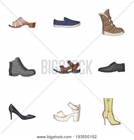 A set of icons on a variety of shoes.Different shoes single icon in cartoon style vector symbol stock web illustration.