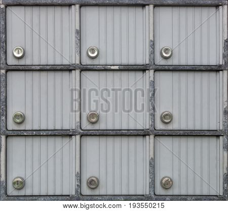 many locked metal doors safe mailbox locker secure lock