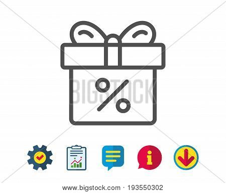 Gift box with Percentage line icon. Present or Sale sign. Birthday Shopping symbol. Package in Gift Wrap. Report, Service and Information line signs. Download, Speech bubble icons. Editable stroke