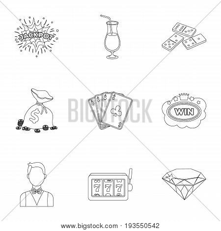 The set of symbols casino games. Gambling for money. Chips, dominoes, casino. Casino and gambling icon in set collection on outline style vector symbol stock web illustration.
