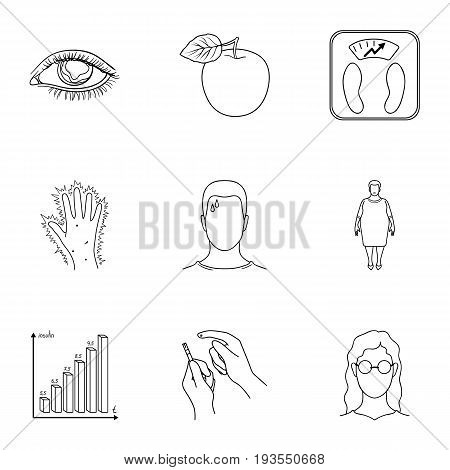 A set of icons about diabetes mellitus. Symptoms and treatment of diabetes. Diabetes icon in set collection on outline style vector symbol stock web illustration.