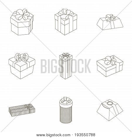 A set of pictures gifts. Gifts for different holidays, surprises. Gift packaging.Gifts and cert icon in set collection on outline style vector symbol stock web illustration.