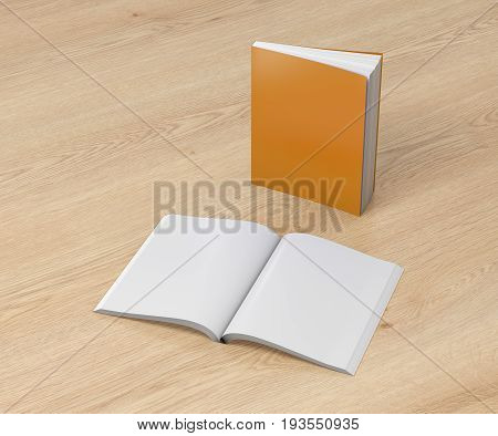 Blank Soft Cover Books Opened And Standing