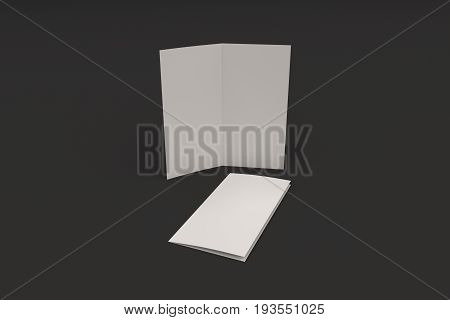 Blank White Two Fold Brochure Mockup On Black Background