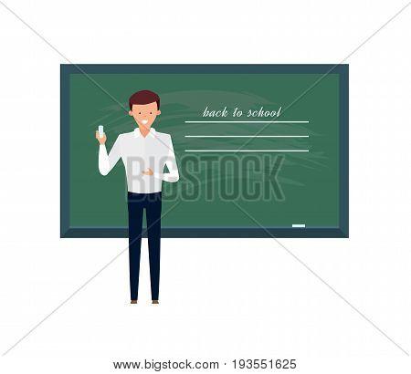 Modern teaching and education system. Teacher, professor standing in front of blank school blackboard in classroom. School male teacher near blackboard. Vector illustration, people in cartoon style.