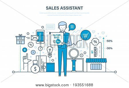Sales assistant, investment, financial growth, methods and ways to growth revenue, performance indicators. Discount, vouchers. Illustration thin line design of vector doodles, infographics elements.