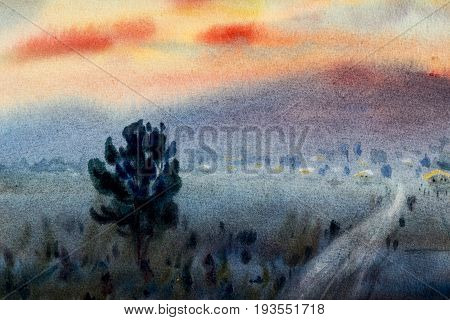 Watercolor original landscape painting colorful of illustration cottage village house on the hill forest mountain range in evening light background