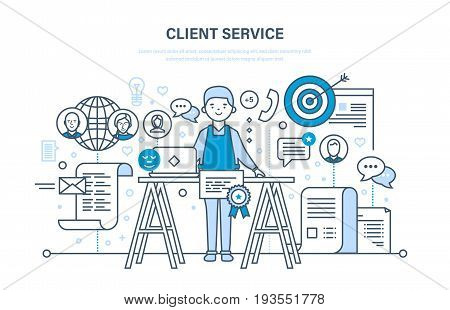 Customer and client service, problem solving, information technology and communication, technical support. Modern vector illustration isolated on white background.