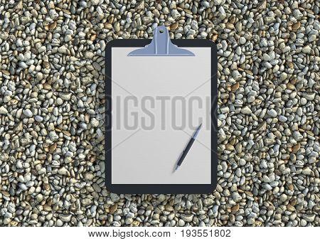 Blank Clipboard With Ballpen On Gravel