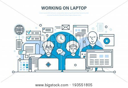 Working on laptop concept. People working on laptop, for business analysis, strategy, planning, training and education, group work in office, teamwork. Illustration thin line design of vector doodles.