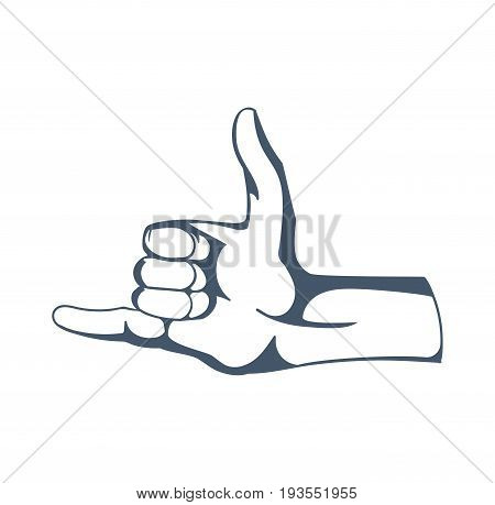 Concept of gestures and signals: call me back, dial my number, contact by phone, self-confidence. Hand depicts gestures. Illustration sketch of human hands, isolated on white background.