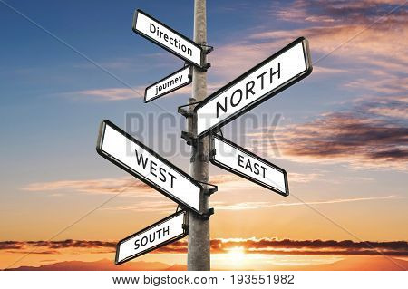 Directional signpost, with summer sky in sunset background