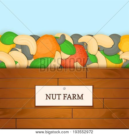Wooden box with cashew nut fruits. Vector card illustration. Boards wood background, border with cashew nuts and label. For the design of packaging breakfast, healthy eating, detox, cosmetics.