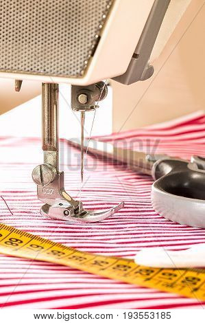 Sewing Machine. Hobby Sewing Fabric As A Small Business Concept.