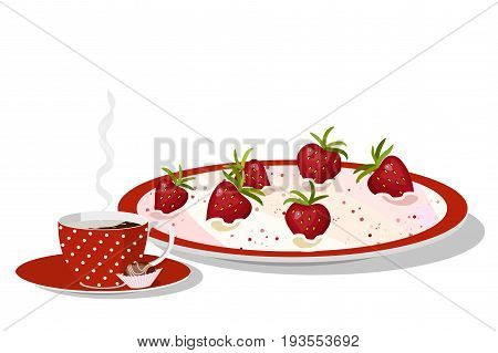 Delicious summer breakfast, a cup of hot coffee with cream, chocolate candy and strawberry mousse with ripe berries on plate, isolated on white background, vector illustration