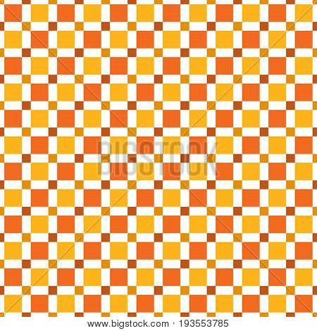 Seamless Pattern Made Of Colorful Squres - Red, Orange, Dark Tan On White Background