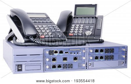Phone switch system and digital telephones isolated on the white background