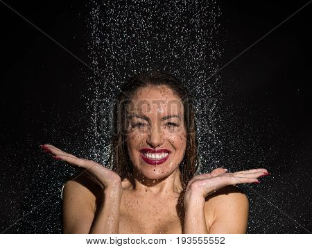 Vivacious Young Woman Having Fun In The Shower