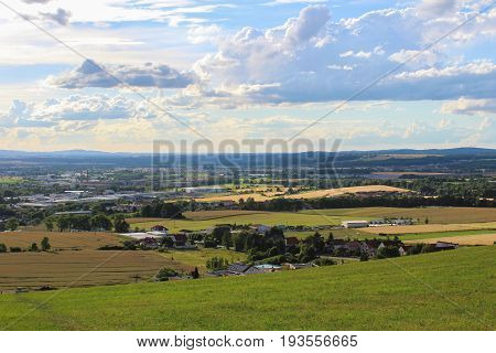 Panoramatic View On City Ceske Budejovice And Dubicne