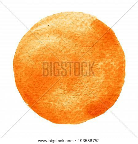 Yellow, Orange Circle Painted With Watercolor On A White Background