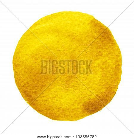 Yellow orange circle painted with watercolor isolated on a white background. Watercolour backdrop and texture. Spicy mustard color