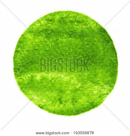 Green, Greenery Circle Painted With Watercolor On A White Background