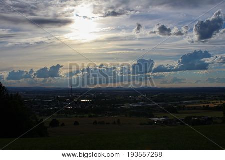 Panoramatic View On City Ceske Budejovice With Sky