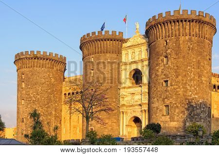 The imposing towers and triumphal arch of the New Castle (Castel Nuovo) - Naples Campania Italy