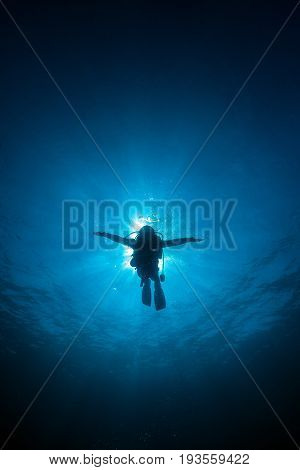 Silhouette diver sun rays behind at Underwater blue background in sea. Thailand
