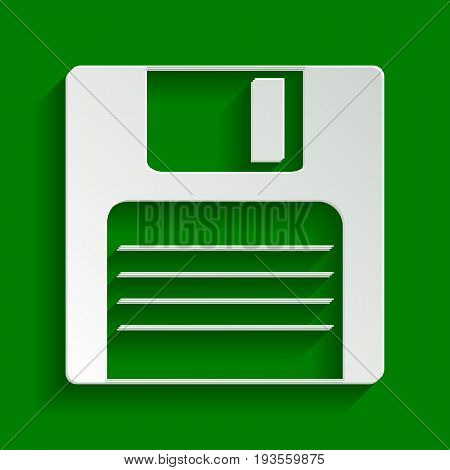 Floppy disk sign. Vector. Paper whitish icon with soft shadow on green background.