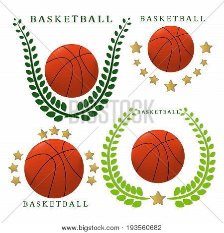 Abstract vector illustration logo game basketball, flying orange ball, basket on background.