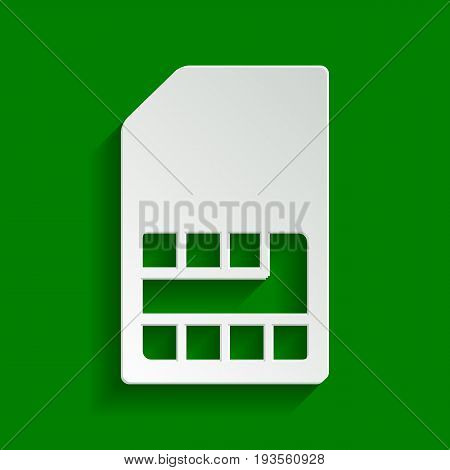 Sim card sign. Vector. Paper whitish icon with soft shadow on green background.
