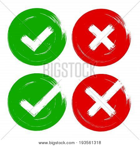 Vector tick and cross brush stroke sign set. Green and red OK X vote option check mark icons. Isolated objects on white background. Flat grunge marks graphic design. Symbol for yes and no decisions.