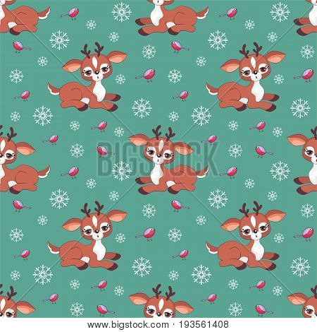 Baby colorful seamless pattern with the image of a cute little fawn. Vector Christmas background.