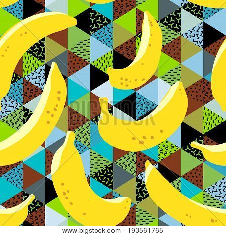 Banana Seamless Pattern. Yellow Banana Fruits On Colorful Background. Trendy Freehand Drawing Illust
