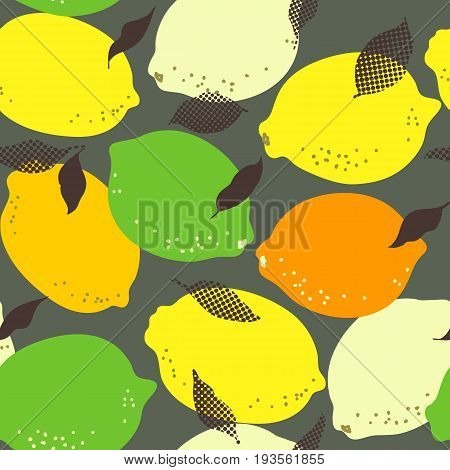 Lemon Citrus Fruits Seamless Pattern. Limes And Lemons With Leaves On Grungy Background. Trendy Citr
