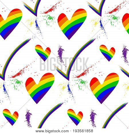 Colored rainbow hearts . Seamless pattern on the theme of gay parade vector design