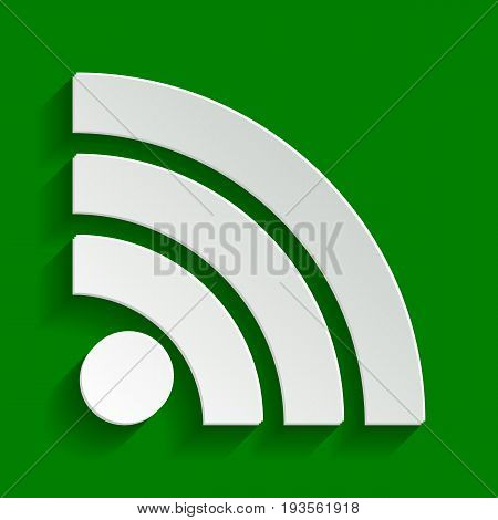 RSS sign illustration. Vector. Paper whitish icon with soft shadow on green background.