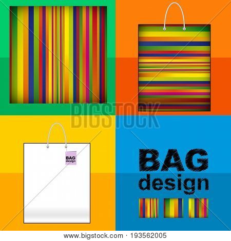 Template shopping Bag: abstract lines background made of colorful striped patterns.
