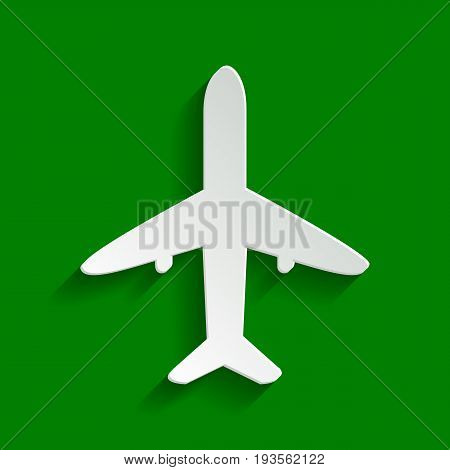 Airplane sign illustration. Vector. Paper whitish icon with soft shadow on green background.