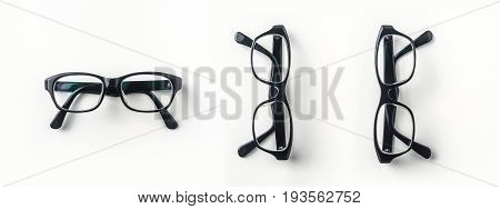 Top view of vintage glasses on white background desk for mockup collection of diverse angle.