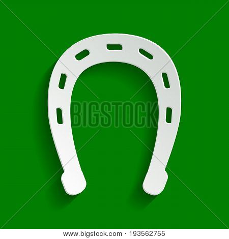 Horseshoe sign illustration. Vector. Paper whitish icon with soft shadow on green background.