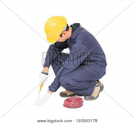 Electrician With Bunch Of Wires